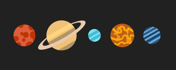 A flat drawing of some planets in a row.